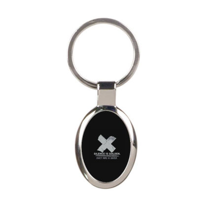 Silence Is Golden Oval Keychain Designed By Yad1_