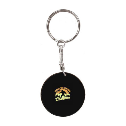 Social Distancing Champion White Round Keychain Designed By Yad1_