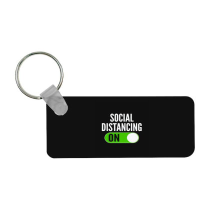 Social Distancing On Button Frp Rectangle Keychain Designed By Yad1_