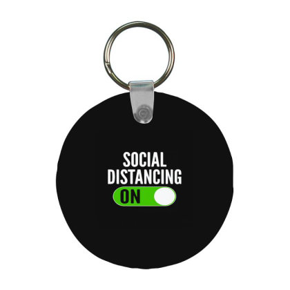 Social Distancing On Button Frp Round Keychain Designed By Yad1_