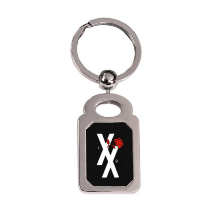 Xx Red Rose Silver Rectangle Keychain Designed By Loye771290