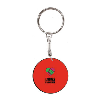 Friends Across The Barricade White Round Keychain Designed By Shannen Doherty