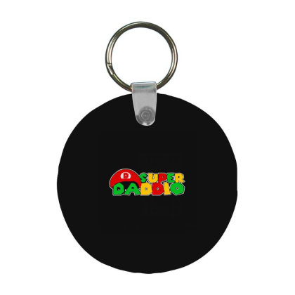 Super Daddio Gamer Dad Frp Round Keychain Designed By Yad1_