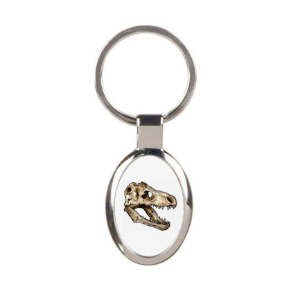 Dino Skull Oval Keychain Designed By Mina Aksarani