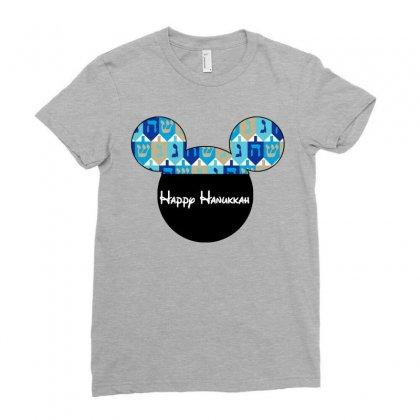 Hanukkah Dreidal Ears Ladies Fitted T-shirt Designed By Tshirt Time