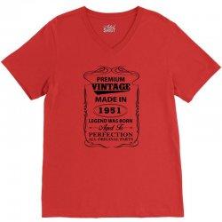 vintage legend was born 1951 V-Neck Tee | Artistshot