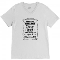 vintage legend was born 1958 V-Neck Tee | Artistshot