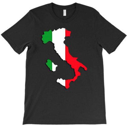 Itallian Flag Map T-shirt Designed By Killakam