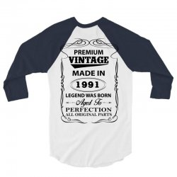 vintage legend was born 1991 3/4 Sleeve Shirt   Artistshot