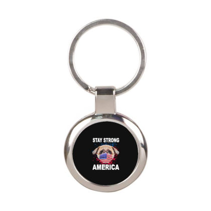 Support America Round Keychain Designed By Delicous