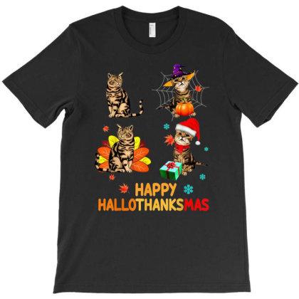 Cat Halloween Thanksgiving Christmas Happy Hallothanksmas T-shirt Designed By Mrt90