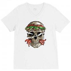 burger skull V-Neck Tee | Artistshot