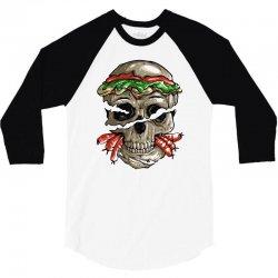 burger skull 3/4 Sleeve Shirt | Artistshot