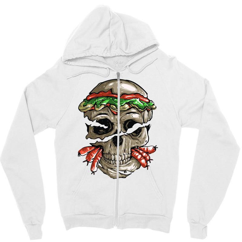 Burger Skull Zipper Hoodie | Artistshot