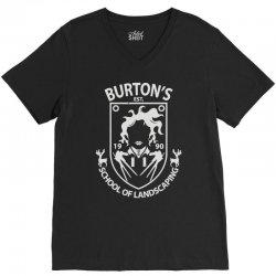 burton's school of landscaping V-Neck Tee   Artistshot