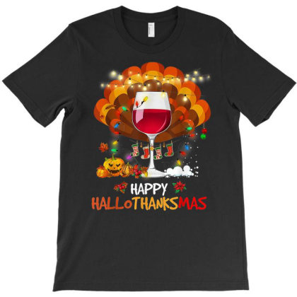 Wine Hallothanksmas Pumpkin Turkey Gift T-shirt Designed By Mrt90
