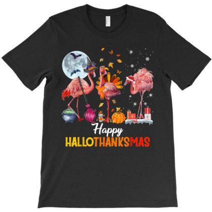 Happy Hallothanksmas Flamingo T-shirt Designed By Mrt90