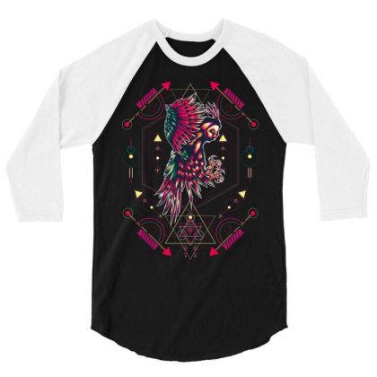 Owl 3/4 Sleeve Shirt Designed By Samkal