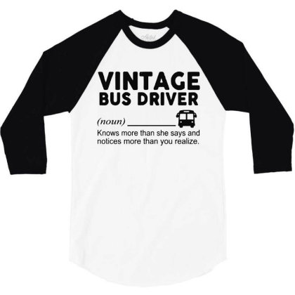 Bus Driver 3/4 Sleeve Shirt Designed By Delicous