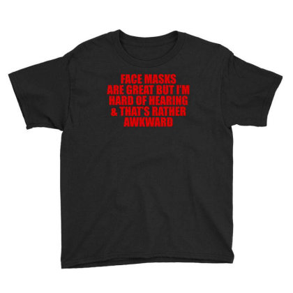 Hearing Impaired  - American Sign -  Deaf Support Essential Youth Tee Designed By Black White