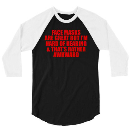 Hearing Impaired  - American Sign -  Deaf Support Essential 3/4 Sleeve Shirt Designed By Black White