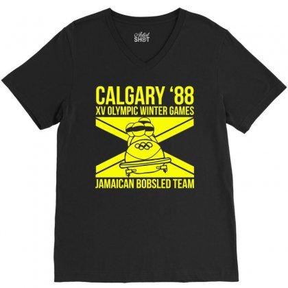 Calgary 88 Jamaican Bobsleigh Team V-neck Tee Designed By Monstore