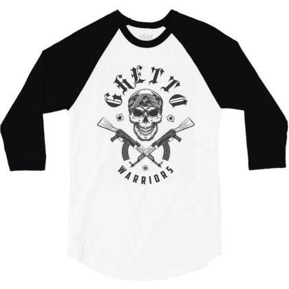 Ghetto Warriors Skull 3/4 Sleeve Shirt Designed By Estore