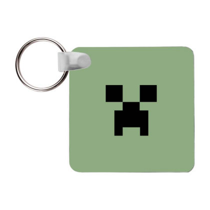 Minecraft Creeper For Green Frp Square Keychain Designed By Ofutlu