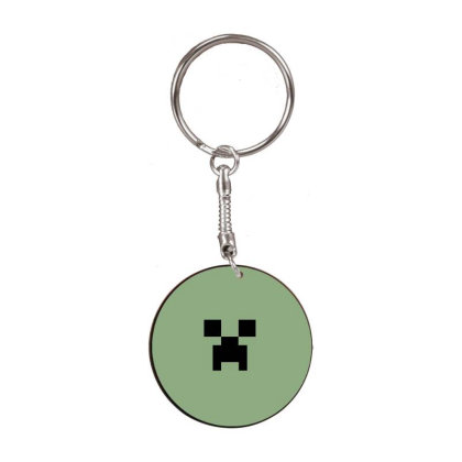 Minecraft Creeper For Green White Round Keychain Designed By Ofutlu