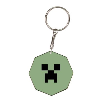 Minecraft Creeper For Green Octagon Keychain Designed By Ofutlu