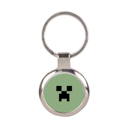 Minecraft Creeper For Green Round Keychain Designed By Ofutlu