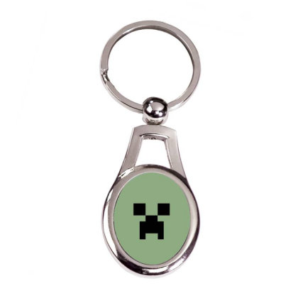 Minecraft Creeper For Green Silver Oval Keychain Designed By Ofutlu