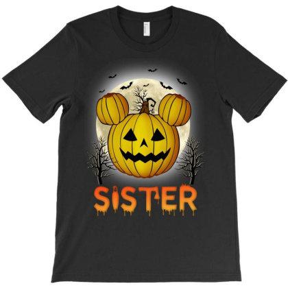 Sister Halloween Pumpkin T-shirt Designed By Badaudesign