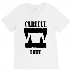 careful i bite halloween m V-Neck Tee | Artistshot