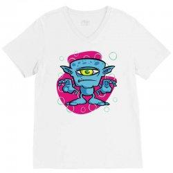 cartoon one eyed space monster V-Neck Tee | Artistshot
