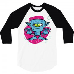 cartoon one eyed space monster 3/4 Sleeve Shirt | Artistshot