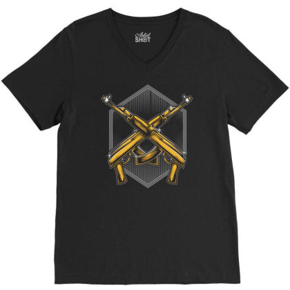 Assault Rifle V-neck Tee Designed By Tariart