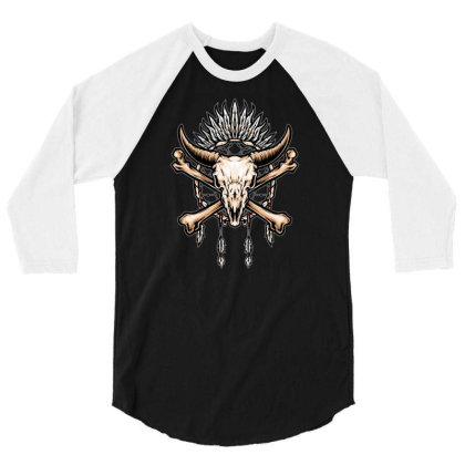 Buffalo Skull Indian Symbol 3/4 Sleeve Shirt Designed By Tariart