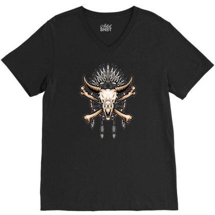 Buffalo Skull Indian Symbol V-neck Tee Designed By Tariart