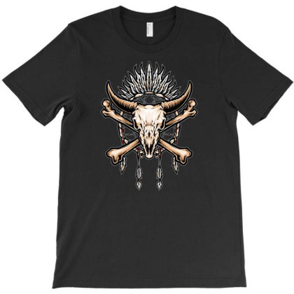Buffalo Skull Indian Symbol T-shirt Designed By Tariart