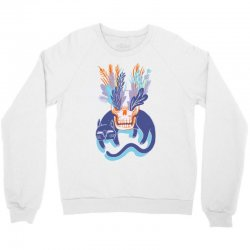 cat skull garden blue Crewneck Sweatshirt   Artistshot