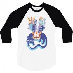 cat skull garden blue 3/4 Sleeve Shirt   Artistshot