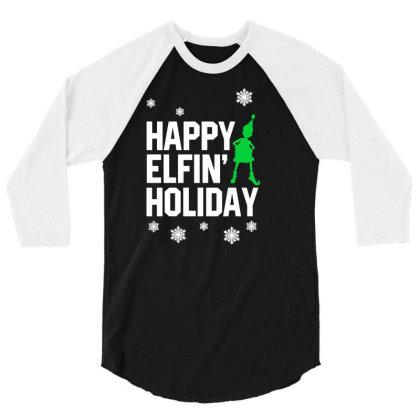 Happy Elvin Holiday 3/4 Sleeve Shirt Designed By Ajeng Widiastuti