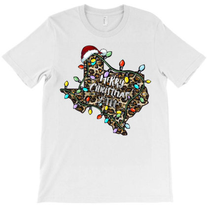 Merry Christmas Y'all Leopard T-shirt Designed By Badaudesign