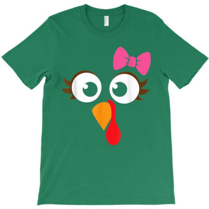 Turkey Face Girl Pink Bow T-shirt Designed By Mrt90