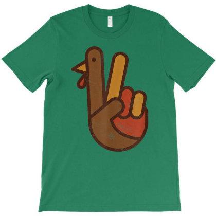 Funny Turkey Hand Thanksgiving Retro Vintage T-shirt Designed By Mrt90