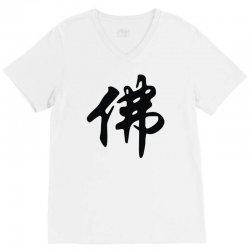 chinese sign for buddha   solid black V-Neck Tee | Artistshot