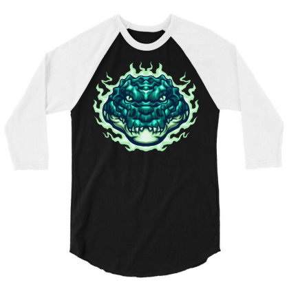 Electric Aligator 3/4 Sleeve Shirt Designed By Tariart