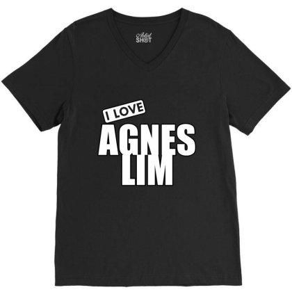 I Love Agnes Lim V-neck Tee Designed By Word Power