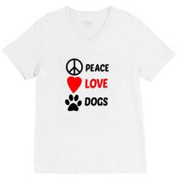 Peace Love Dogs V-Neck Tee   Artistshot